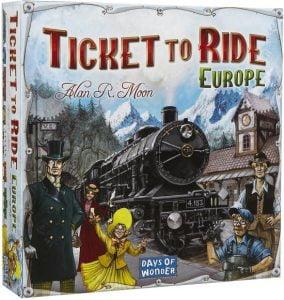 Ticket to Ride Europe; Bordspel geschikt voor 2 tot 5 spelers vanaf 8 jaar. Speelduur: +/- 60 minuten.