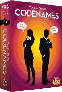 Codenames; Bordspel geschikt voor 2 tot 8 spelers vanaf 10 jaar. Speelduur: +/- 15 minuten.