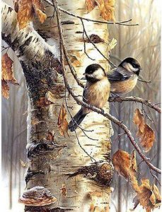 Diamond painting vogels in boom