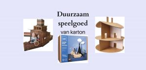 Duurzaam speelgoed van karton, boot, poppenhuis, boot, blokken een tafeltennistafel en meer