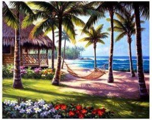 Diamont painting palmboom hangmat